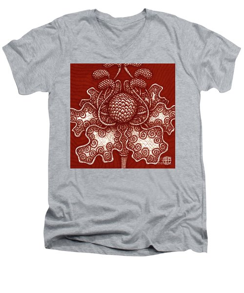 Men's V-Neck T-Shirt featuring the painting Alien Bloom 18 by Amy E Fraser