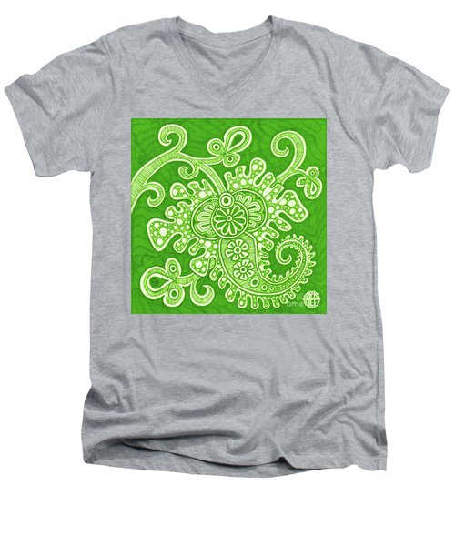 Men's V-Neck T-Shirt featuring the painting Alien Bloom 24 by Amy E Fraser