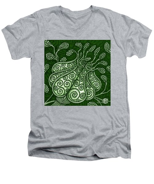 Men's V-Neck T-Shirt featuring the painting Alien Bloom 25 by Amy E Fraser