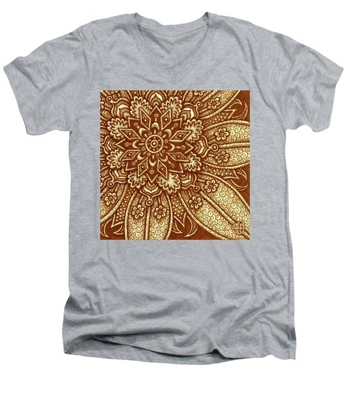 Men's V-Neck T-Shirt featuring the painting Alien Bloom 27 by Amy E Fraser