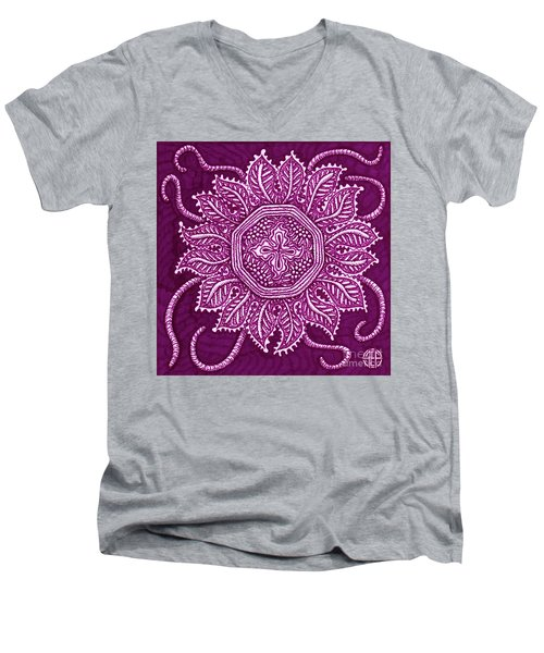 Men's V-Neck T-Shirt featuring the painting Alien Bloom 30 by Amy E Fraser