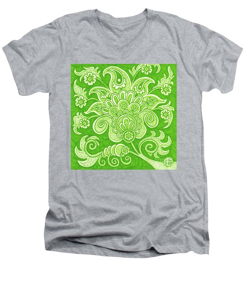 Men's V-Neck T-Shirt featuring the painting Alien Bloom 4 by Amy E Fraser