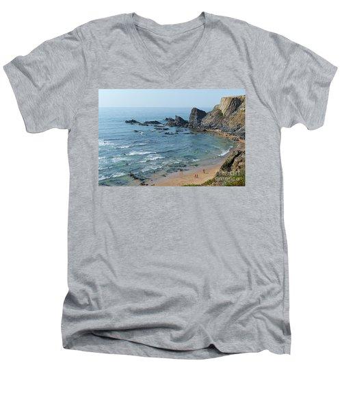 Amalia Beach From Cliffs Men's V-Neck T-Shirt