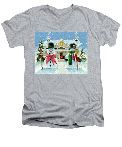 American Snowman Gothic Men's V-Neck T-Shirt