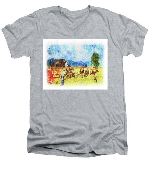 Men's V-Neck T-Shirt featuring the digital art Amish Life by Mark Allen