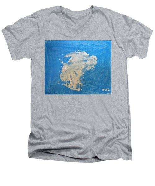 Angel And Dolphin Riding The Waves Men's V-Neck T-Shirt