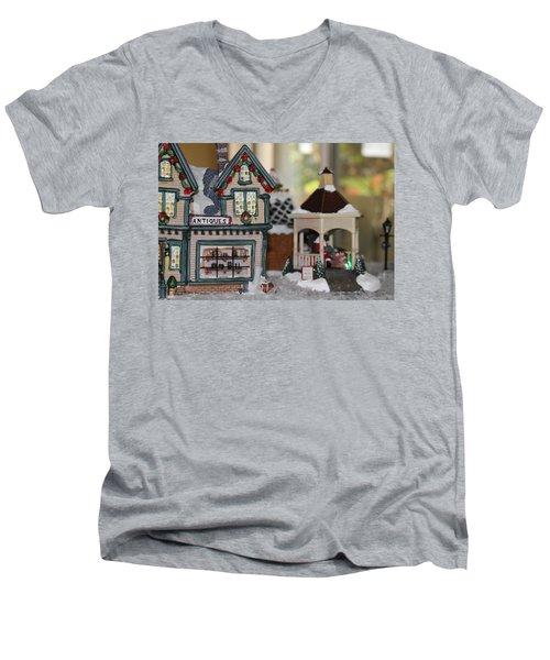 Antiques In Christmas Town Men's V-Neck T-Shirt