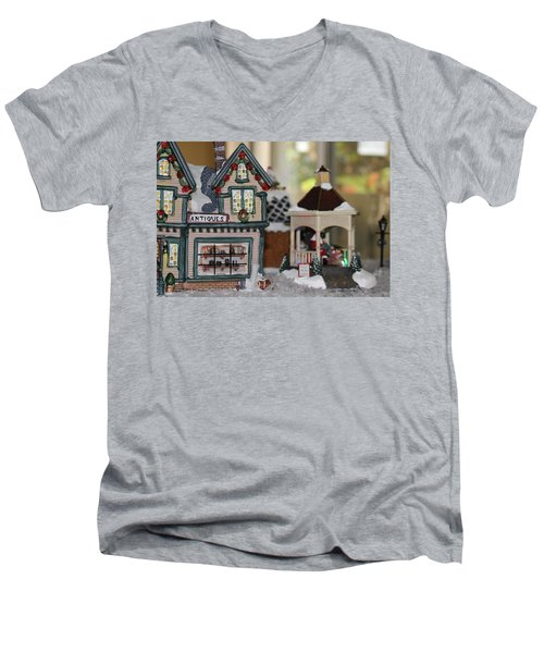 Antiques In Christmas Town Men's V-Neck T-Shirt