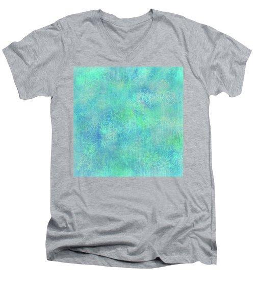 Aqua Batik Print Coordinate Men's V-Neck T-Shirt