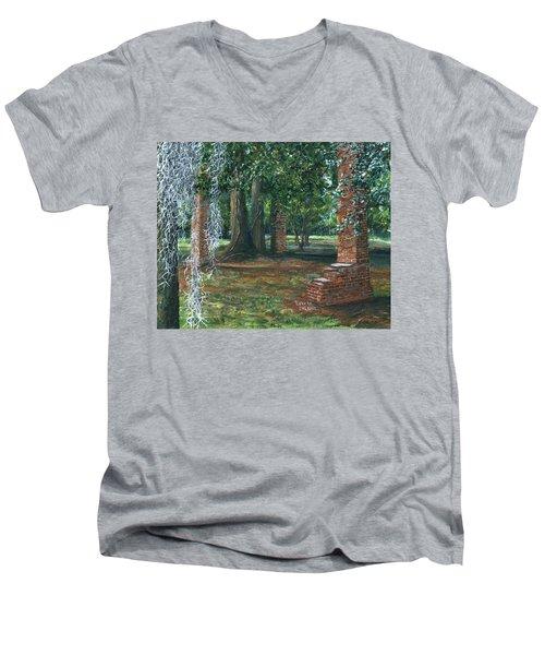 Ardoyne Ruins Near The Mansion, Houma, Louisiana Men's V-Neck T-Shirt