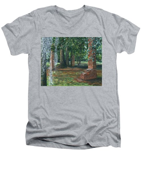 Ardoyne Ruins Near The Mansion, Houma, Louisiana Men's V-Neck T-Shirt
