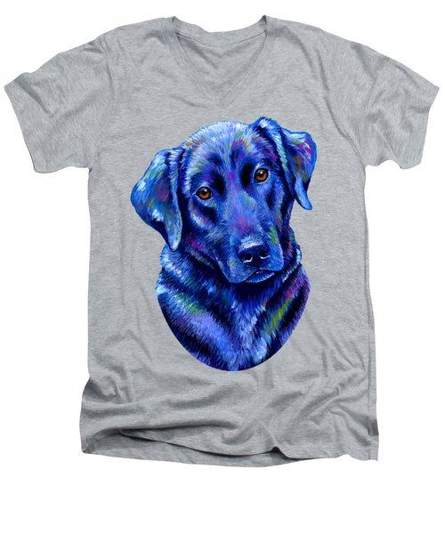 Colorful Black Labrador Retriever Dog Men's V-Neck T-Shirt