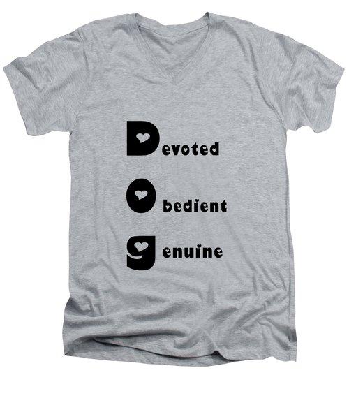 Dog With Black Words Men's V-Neck T-Shirt