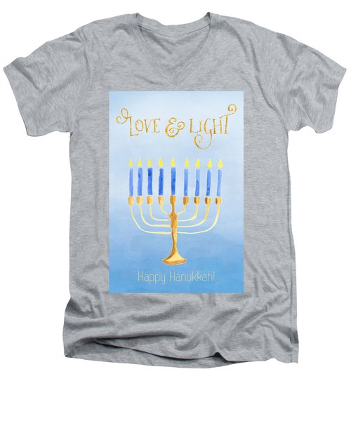 Love And Light For Hanukkah Men's V-Neck T-Shirt