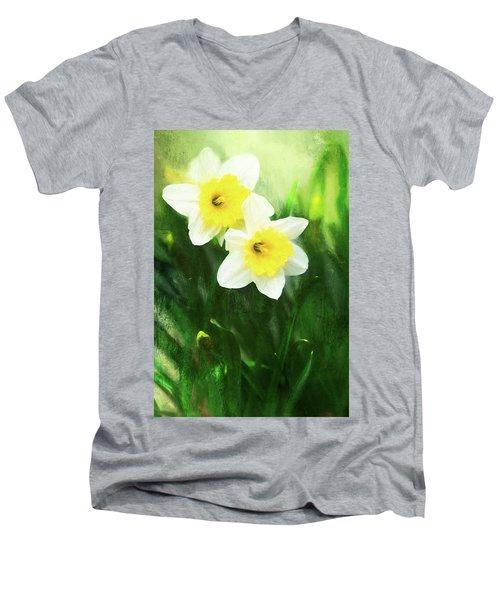 Lovely Painted Daffodil Pair Men's V-Neck T-Shirt