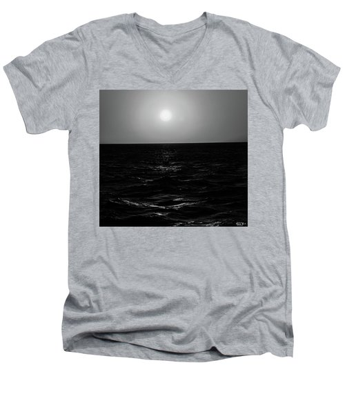 Aruba Sunset In Black And White Men's V-Neck T-Shirt