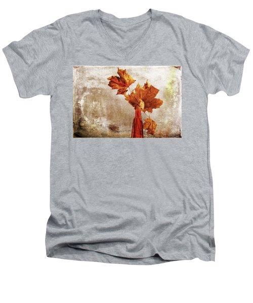 Men's V-Neck T-Shirt featuring the photograph Atumn In A Vase by Randi Grace Nilsberg