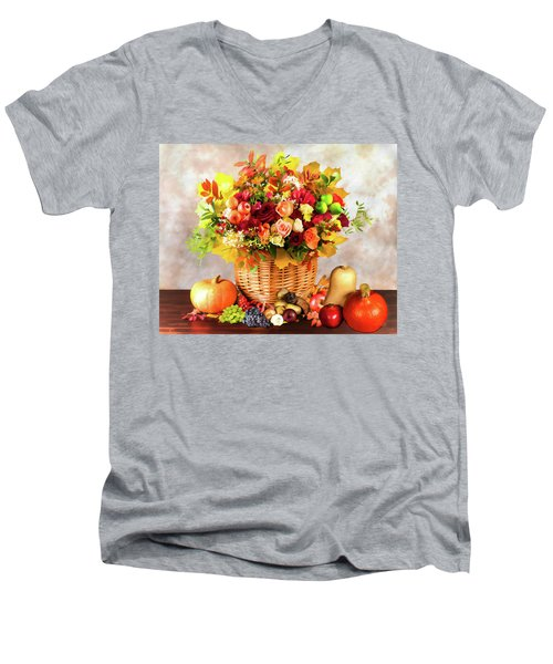 Men's V-Neck T-Shirt featuring the digital art Autum Harvest by Mark Allen