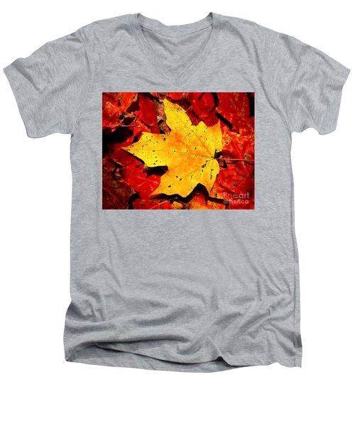 Men's V-Neck T-Shirt featuring the photograph Autumn Beige Yellow Leaf On Red Leaves by Christopher Shellhammer