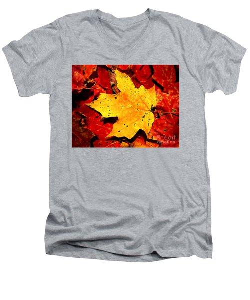 Autumn Beige Yellow Leaf On Red Leaves Men's V-Neck T-Shirt