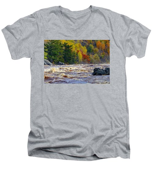 Autumn Colors And Rushing Rapids   Men's V-Neck T-Shirt