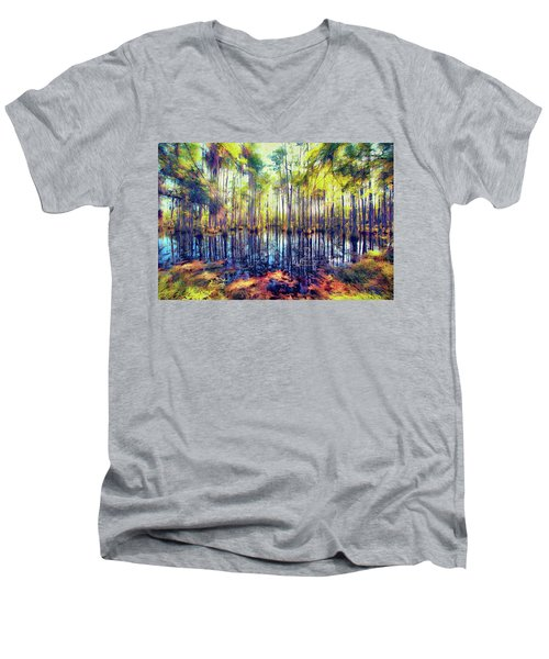 Autumn Fall Colors In The Cypress Swamp Ap Men's V-Neck T-Shirt