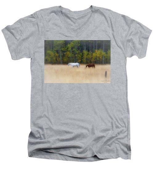 Autumn Horse Meadow Men's V-Neck T-Shirt