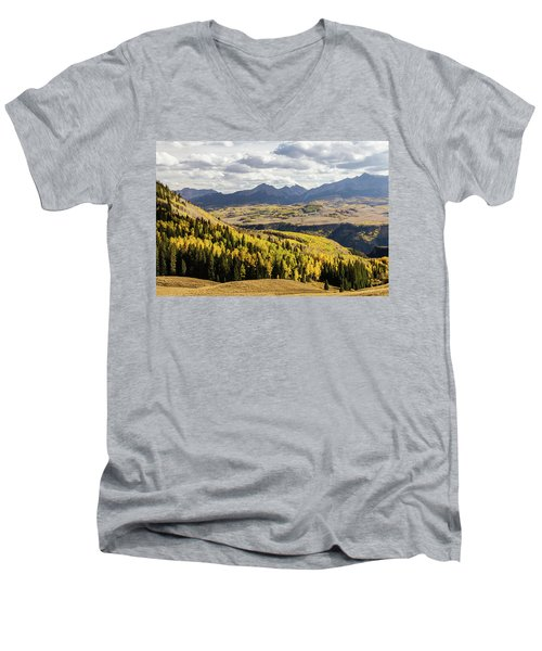 Men's V-Neck T-Shirt featuring the photograph Autumn Season View Of Sneffles Ten Peak by James BO Insogna