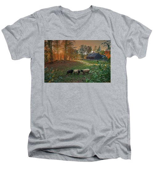 Autumn Sunset At The Old Farm Men's V-Neck T-Shirt