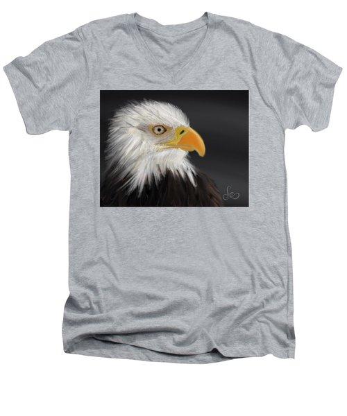 Men's V-Neck T-Shirt featuring the pastel Bald Eagle by Fe Jones