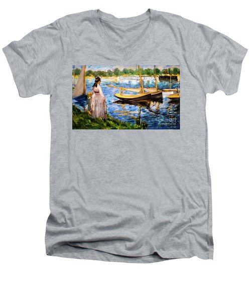 Banks Of The Seine At Argenteuil Men's V-Neck T-Shirt