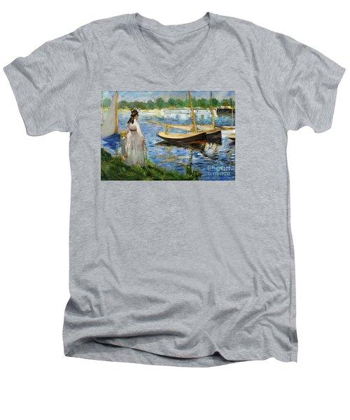 Banks Of The Seine At Argenteuil Men's V-Neck T-Shirt