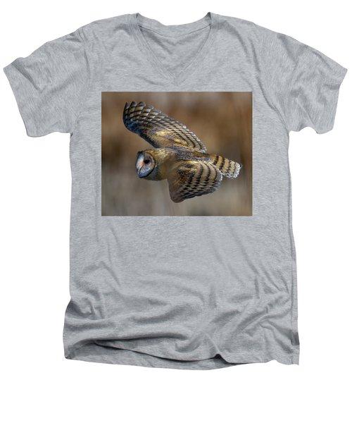 Barn Owl In Flight Men's V-Neck T-Shirt