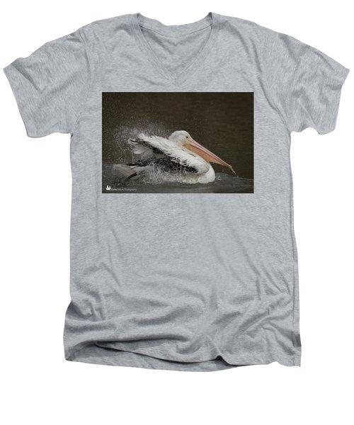 Bathing Pelican Men's V-Neck T-Shirt