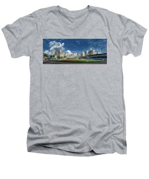 Bbt Baseball Charlotte Nc Knights Baseball Stadium And City Skyl Men's V-Neck T-Shirt
