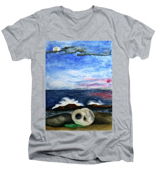 Beach Debris With Waves Men's V-Neck T-Shirt