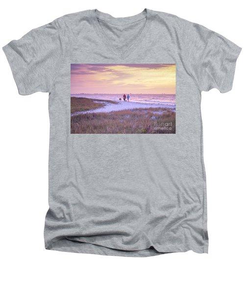 Sunrise Stroll On The Beach Men's V-Neck T-Shirt