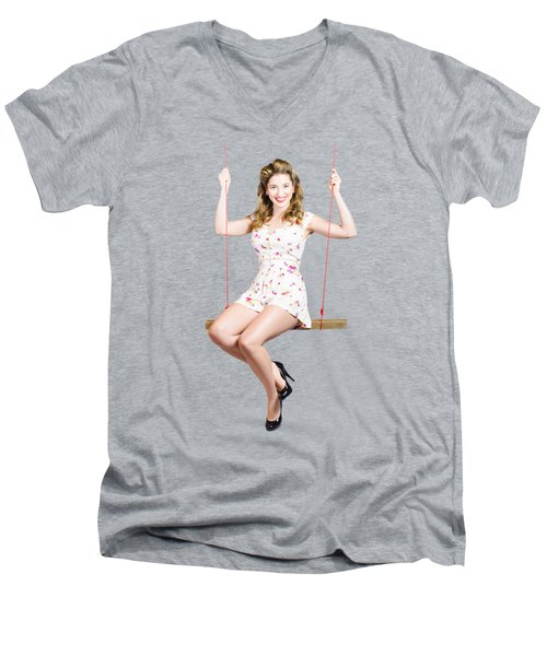 Beautiful Fifties Pin Up Girl Smiling On Swing Men's V-Neck T-Shirt