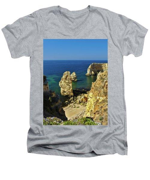 Beautiful Marinha Beach From The Cliffs Men's V-Neck T-Shirt