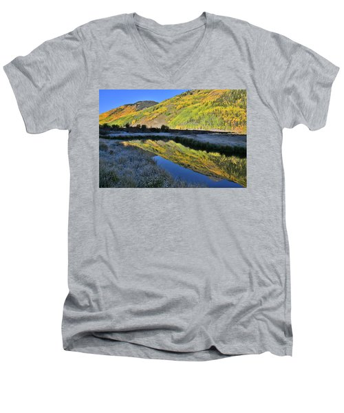 Beautiful Mirror Image On Crystal Lake Men's V-Neck T-Shirt