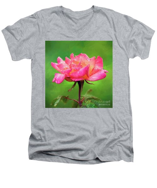 Beautiful Two-tone Rose In The Rain Men's V-Neck T-Shirt