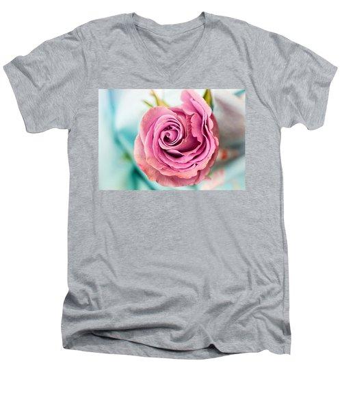 Beautiful Vintage Rose Men's V-Neck T-Shirt