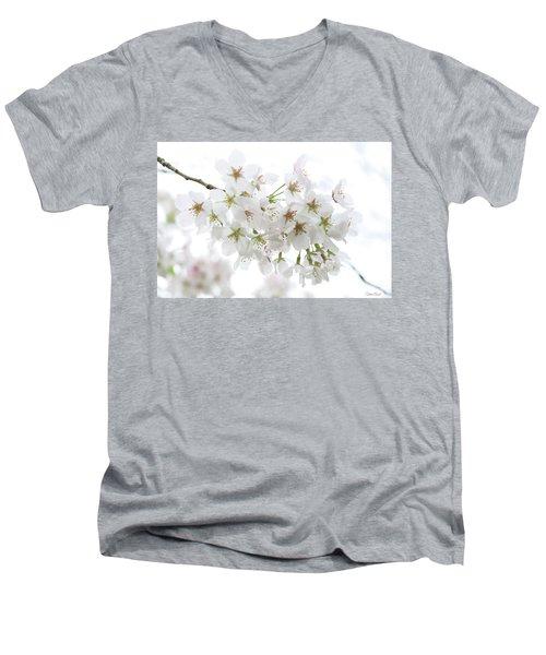 Beautiful White Cherry Blossoms Men's V-Neck T-Shirt