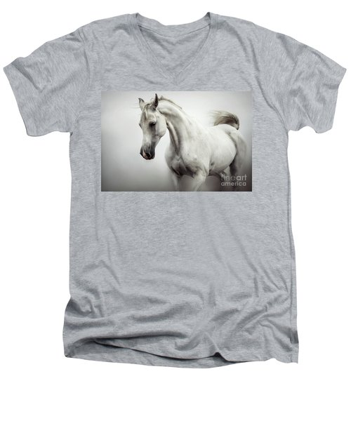 Men's V-Neck T-Shirt featuring the photograph Beautiful White Horse On The White Background by Dimitar Hristov