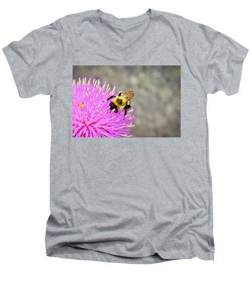 Bee On Pink Bull Thistle Men's V-Neck T-Shirt