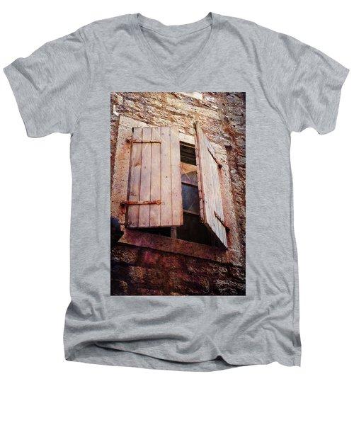 Men's V-Neck T-Shirt featuring the photograph Behind Shutters by Randi Grace Nilsberg