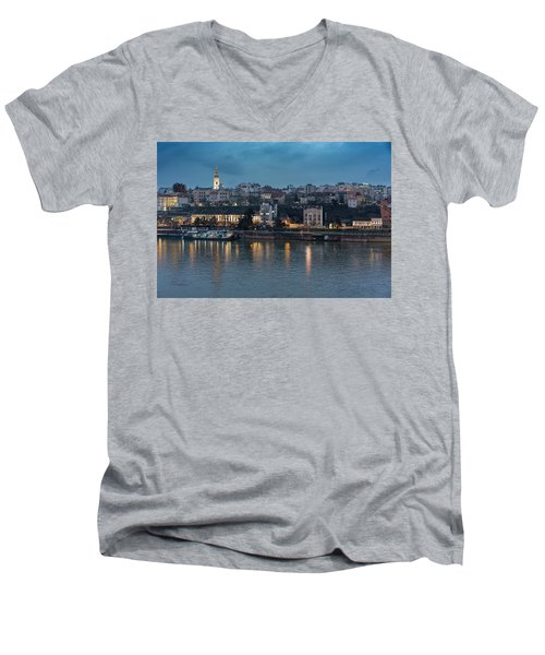 Belgrade Skyline And Sava River Men's V-Neck T-Shirt