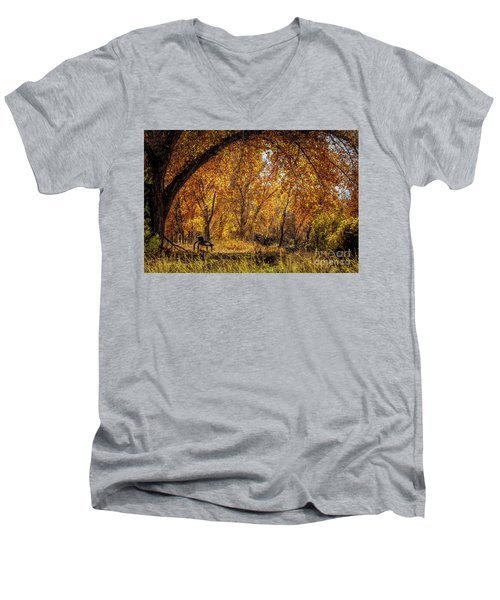 Bench With Autumn Leaves  Men's V-Neck T-Shirt