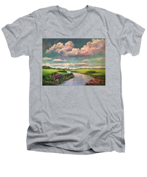 Beneath The Clouds Of Paradise Men's V-Neck T-Shirt