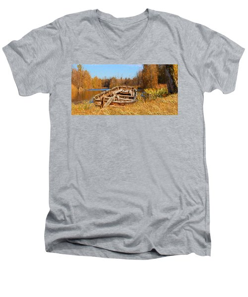 Men's V-Neck T-Shirt featuring the digital art Better Times by Mark Allen